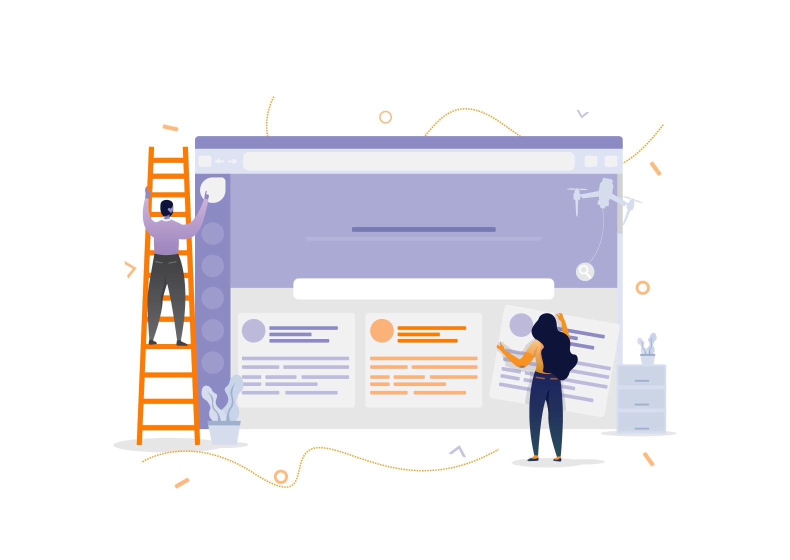 """A static feature image used in the """"How to choose between a custom and semi-custom website"""" post depicting two people constructing a web page. It does not have micro animations."""