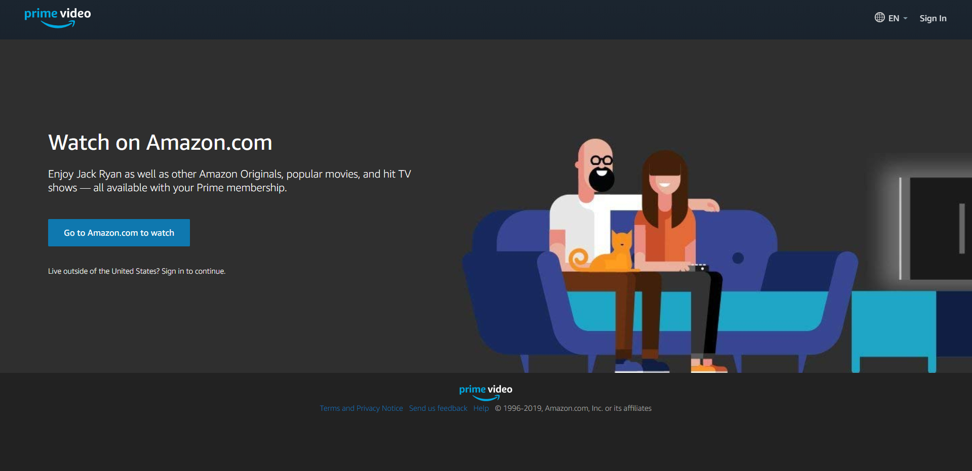 A screenshot of the Prime Video home page