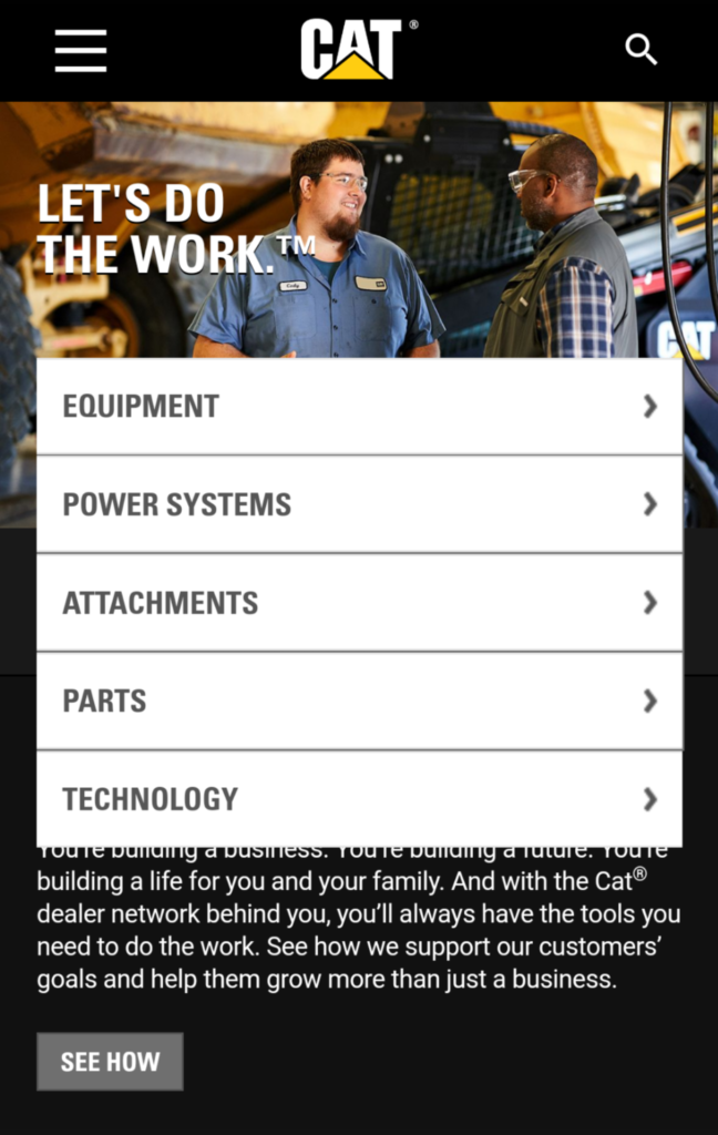 screenshot of the CAT mobile website