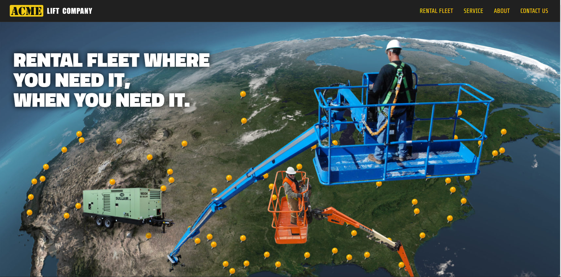 The ACME lift Company homepage