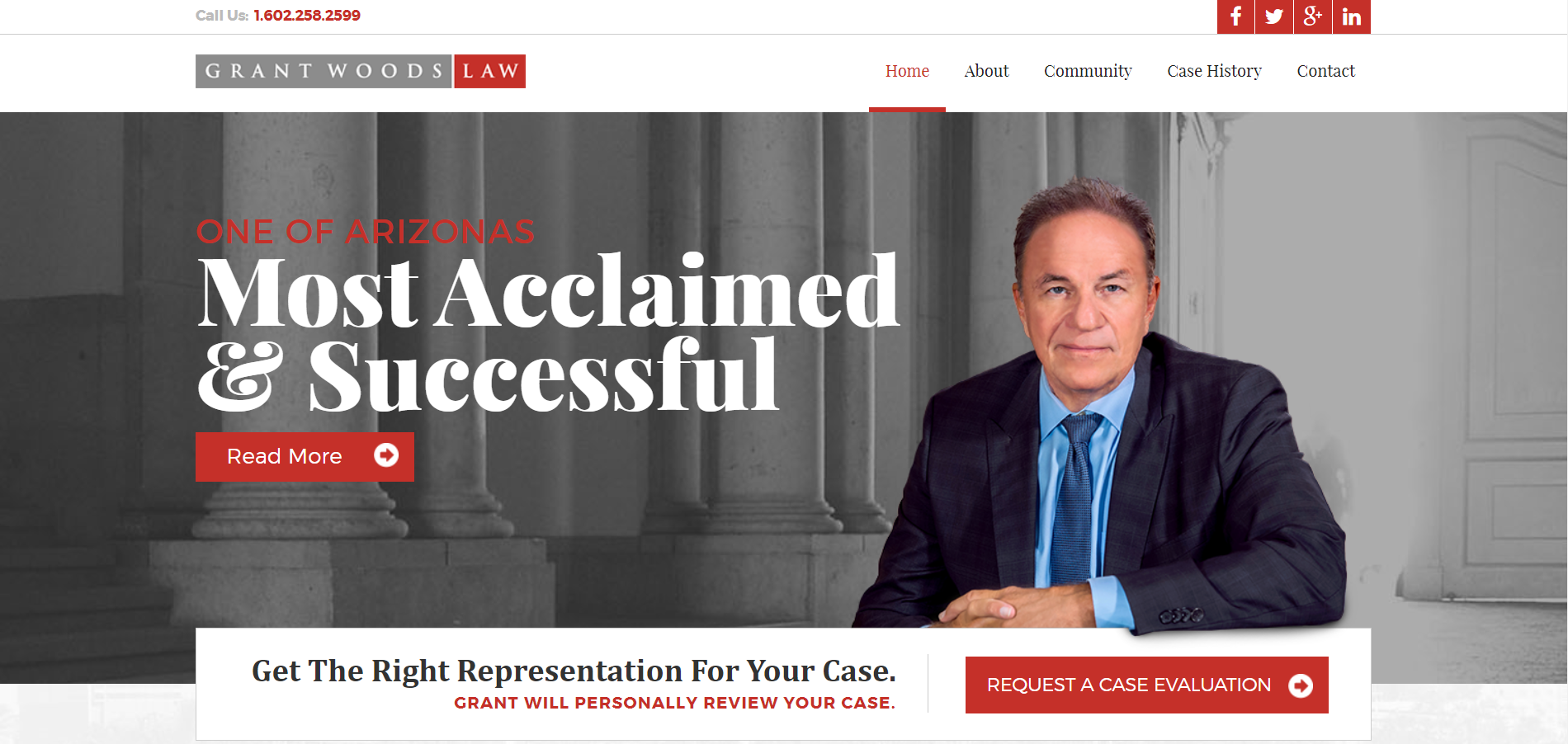 Grant Woods Law website with a face photo featured on the header