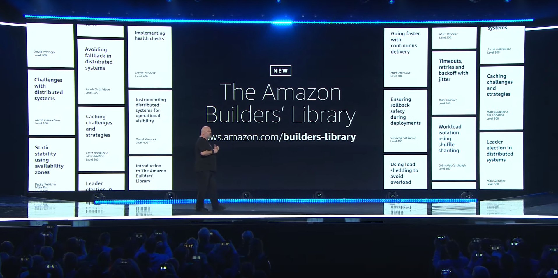 Amazon CTO Dr. Werner Vogels announcing the Amazon Builders Library at re:Invent 2019