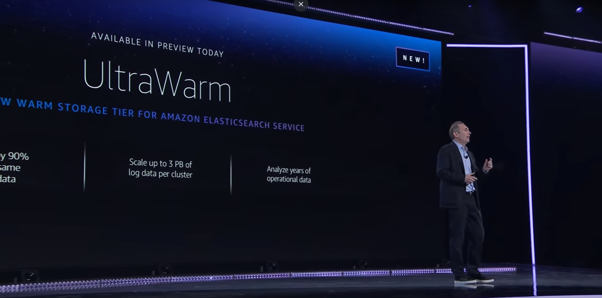 AWS CEO Andy Jassy announcing Amazon UltraWarm at AWS re:Invent 2019