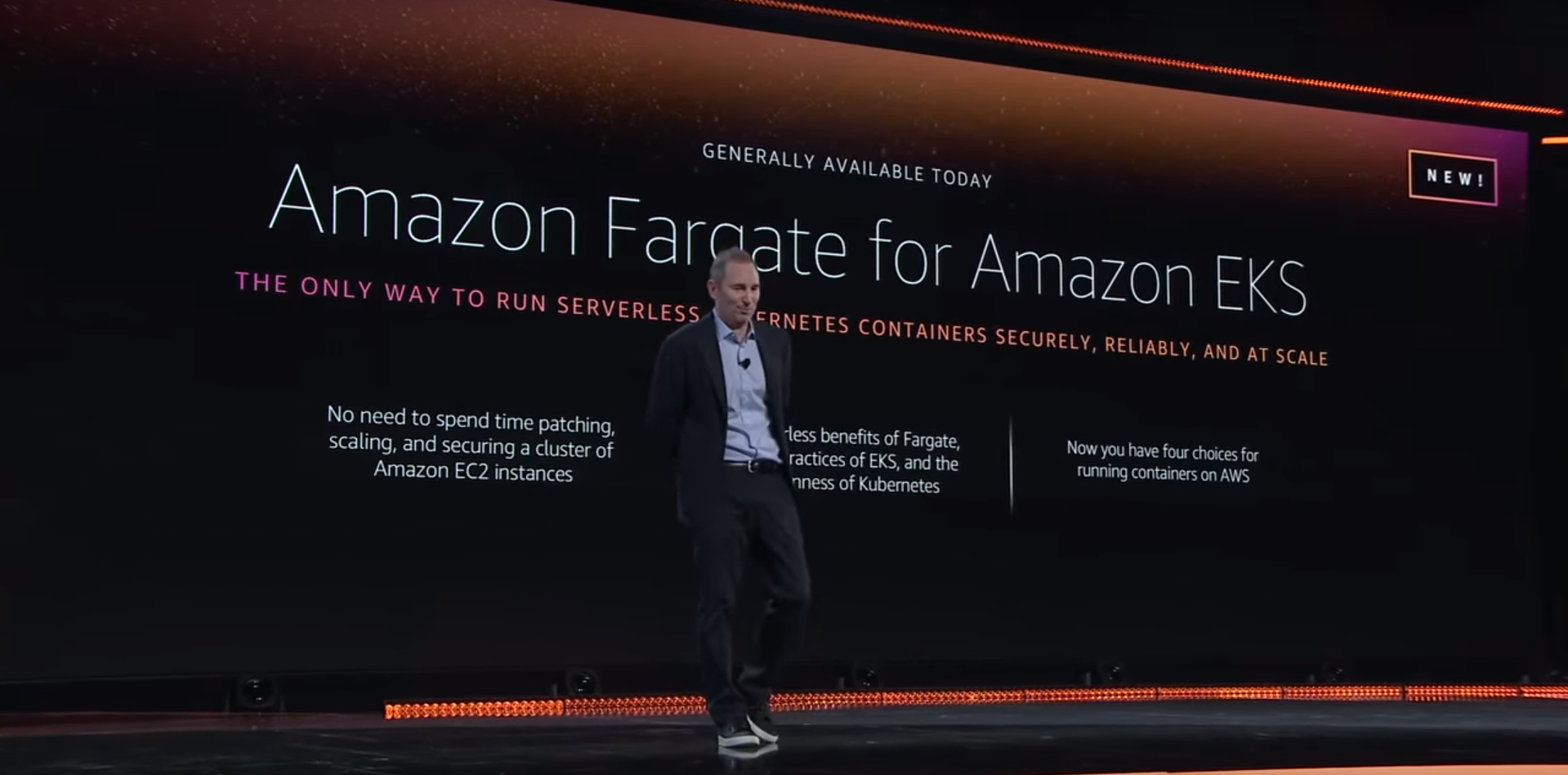 AWS CEO Andy Jassy announcing Fargate for EKS at AWS re:Invent 2019
