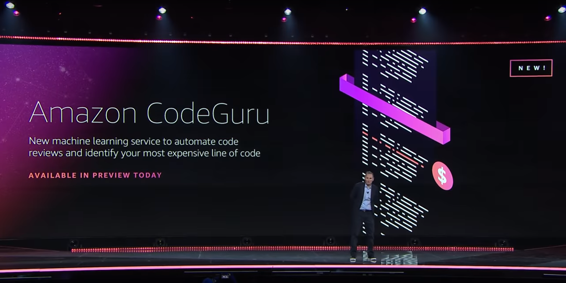 AWS CEO Andy Jassy announcing Code Guru at AWS re:Invent 2019