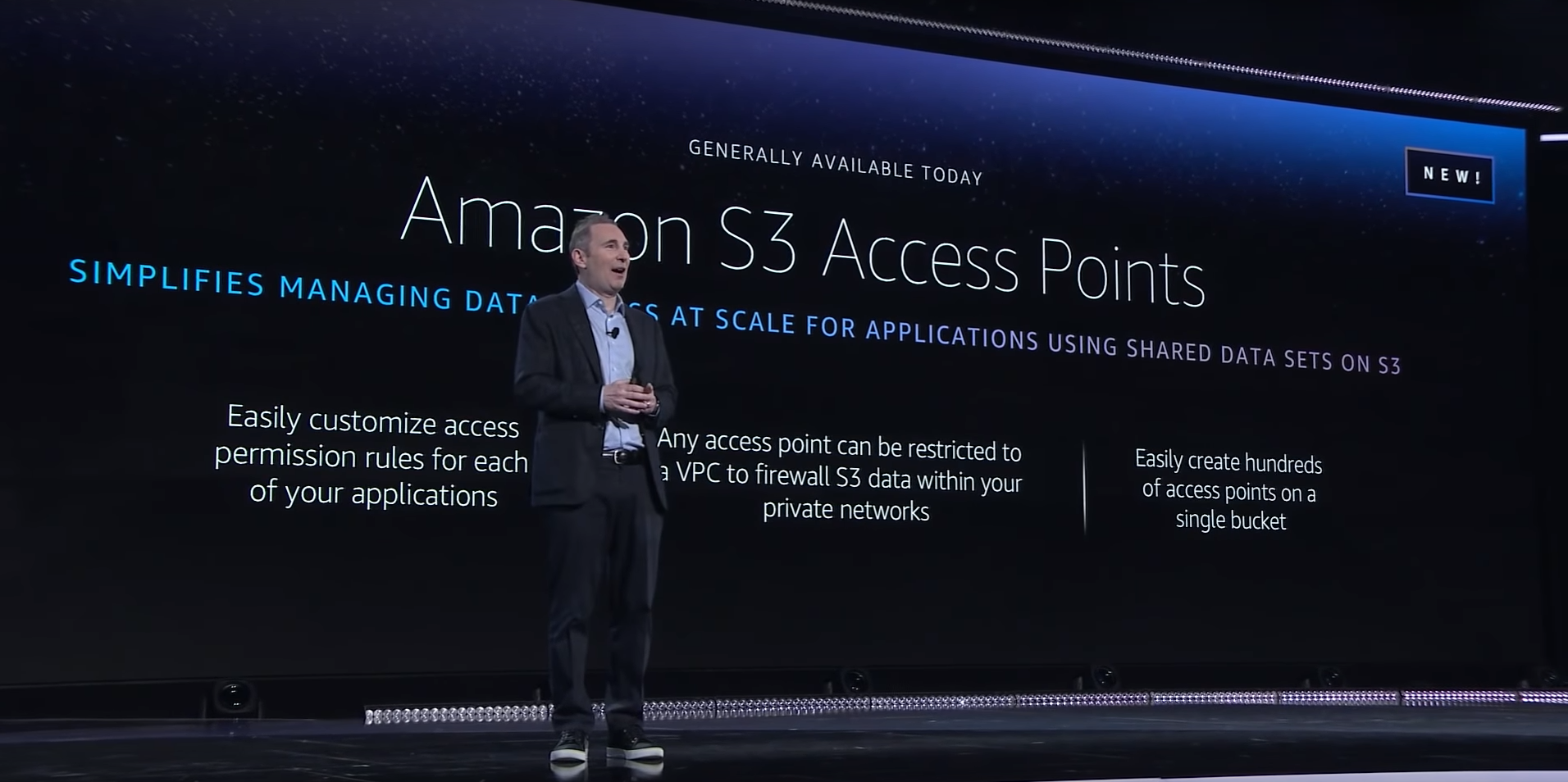 AWS CEO Andy Jassy announcing S3 Access Points at AWS re:Invent 2019
