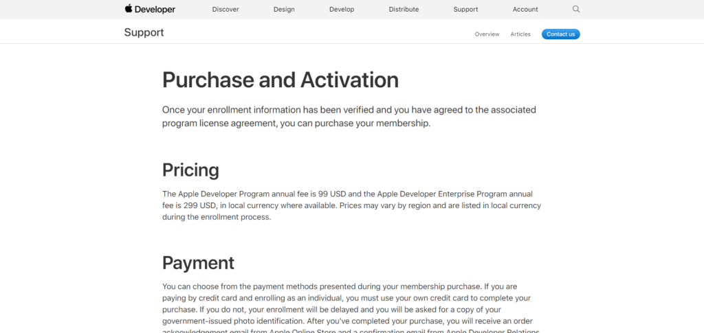 A screenshot of the apple developer purchase and activation page