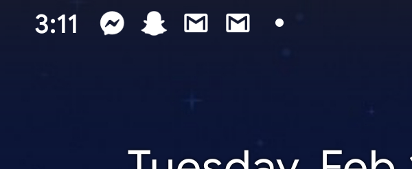 The upper-left corner of an android device displaying five notifications