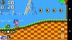 A screenshot of the Retro Game Gear Emulator app running old SEGA games on an Android device