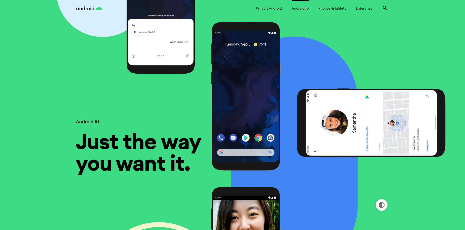 the android 10 landing page