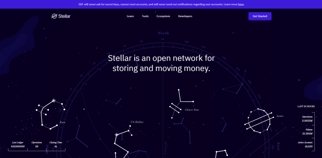 Stellar website, which looks like a starry sky with constellations