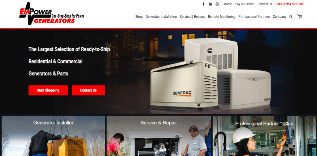 EM Power Generators website