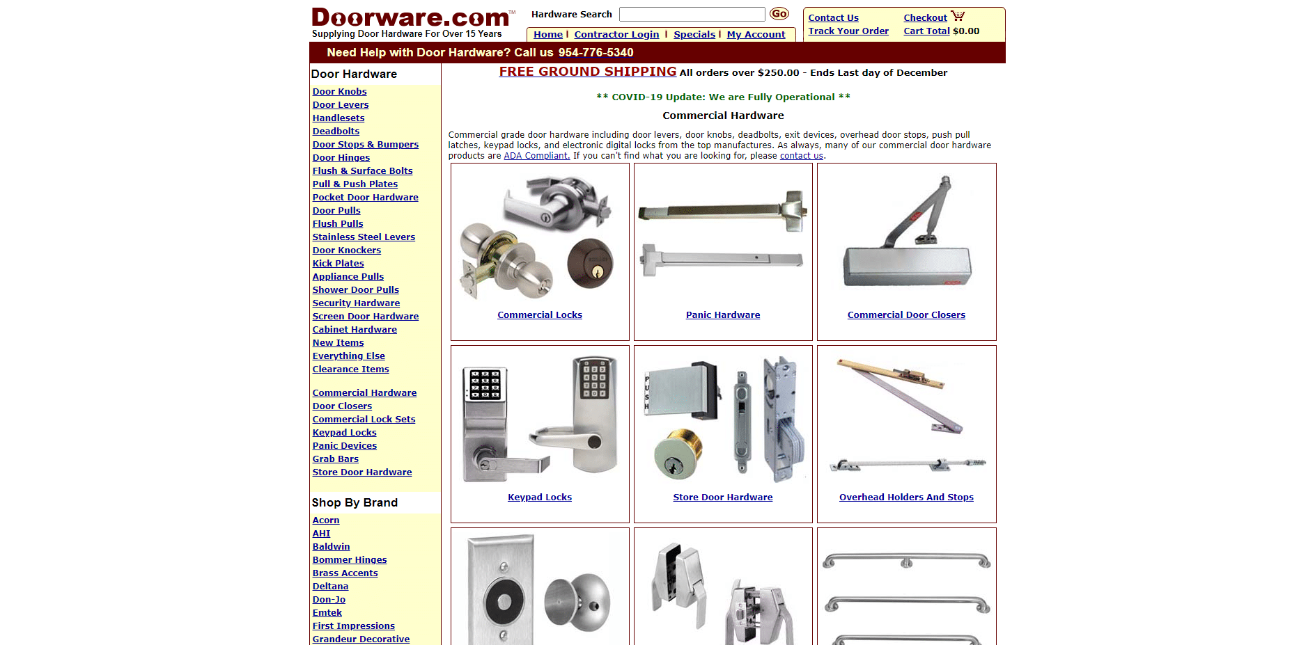 Doorware ugly commercial hardware website