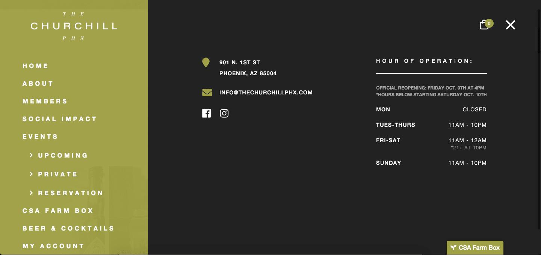 Website menu of The Churchill in Phoenix
