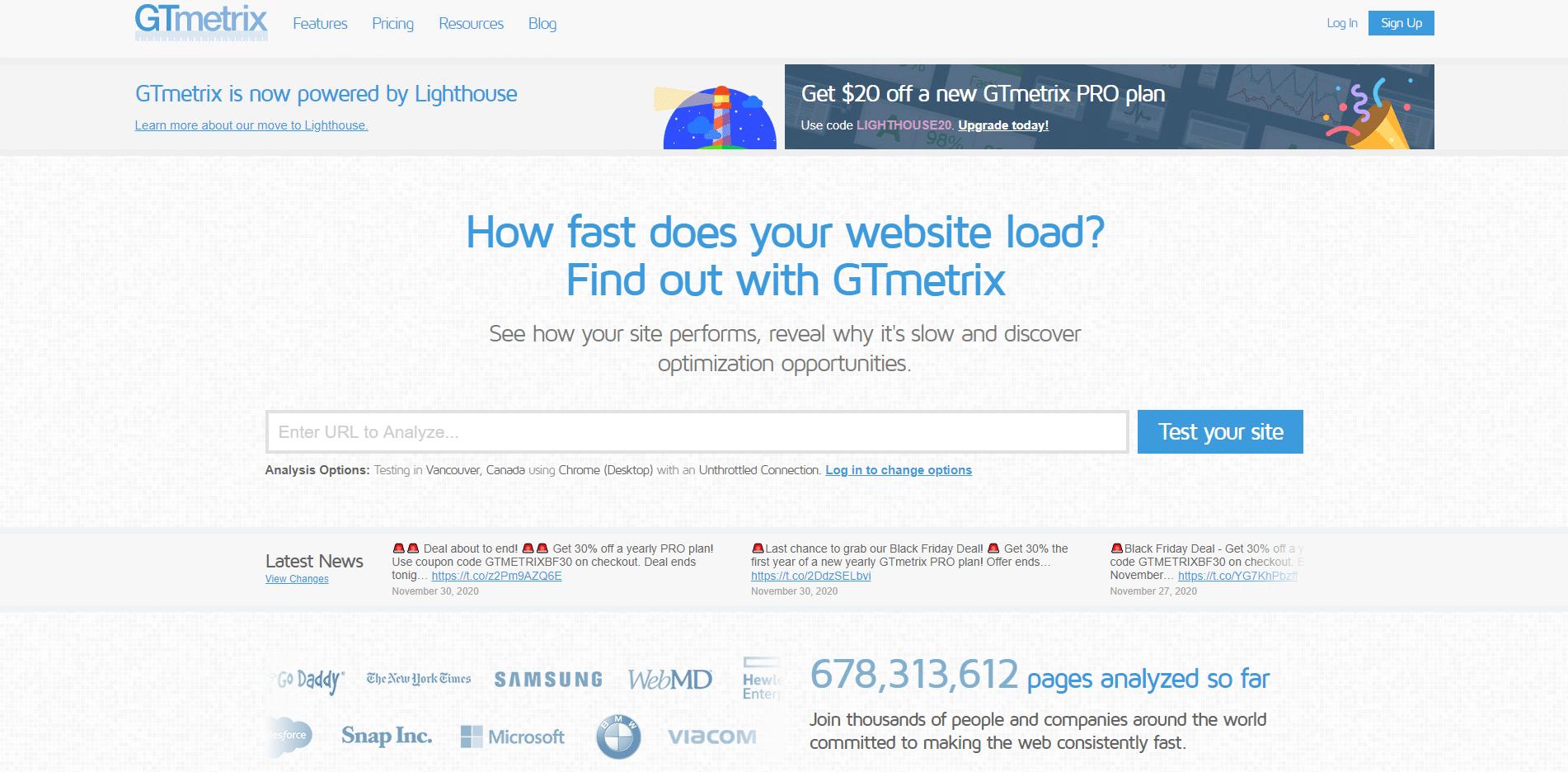GTMetrix speed tester