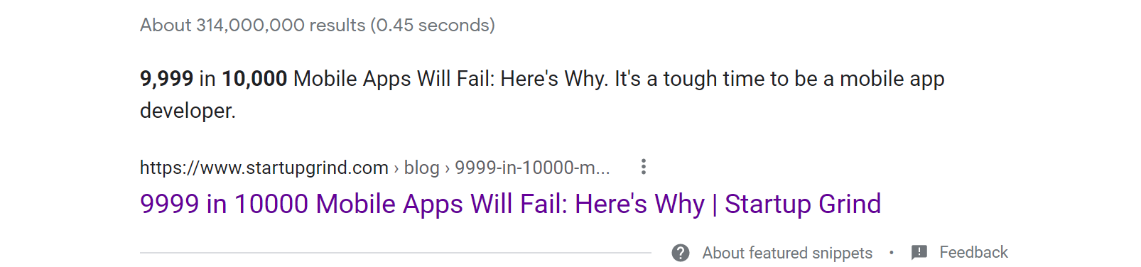 Featured snippet with incorrect information
