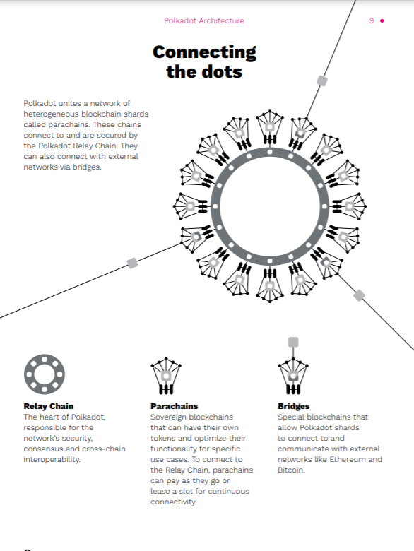 Polkadot white paper with visual graphics explaining the technology