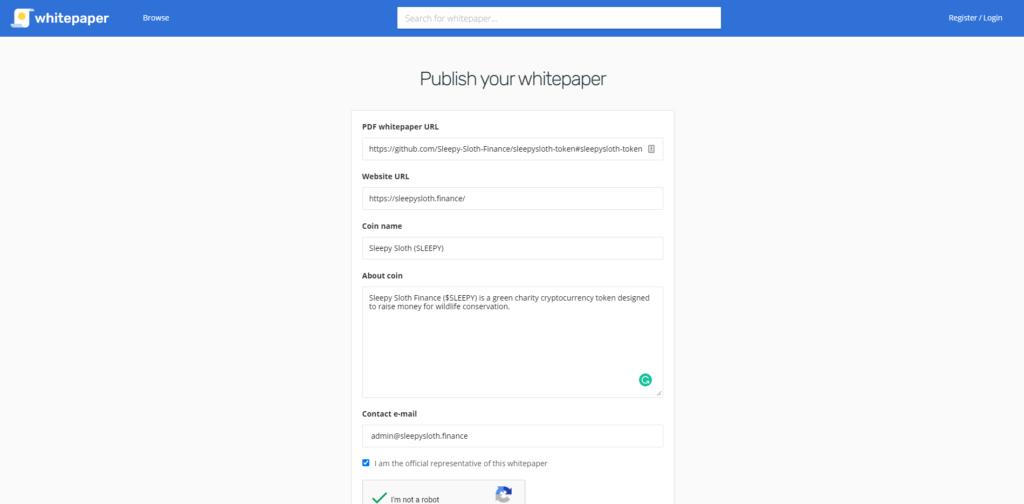 whitepaper.io publishing tab