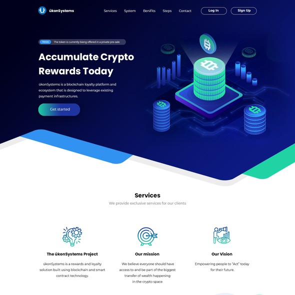 UkonSystems concept with dark blue background and isometric illustration of a coin beacon