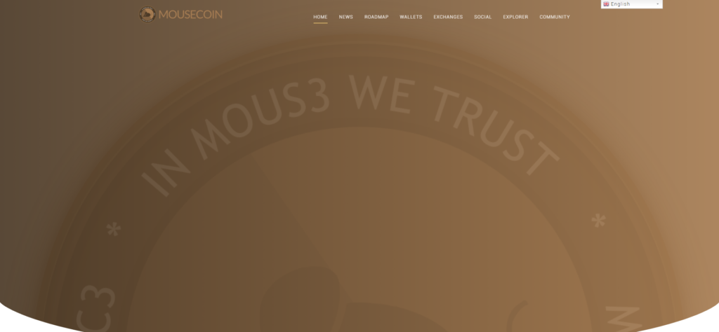 MOUSECOIN landing page is all brown