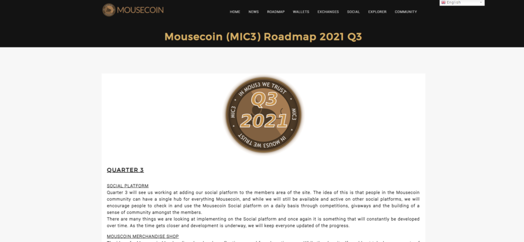 Mousecoin's single-page Quarter 3 report