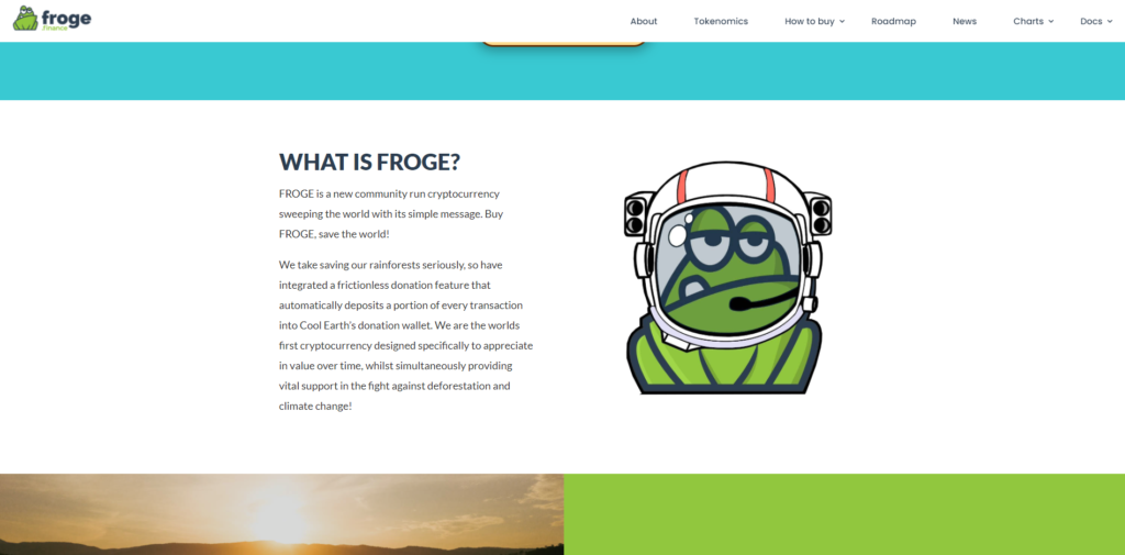 Froge charity coin website design