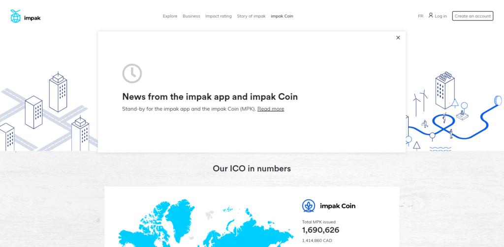 Impak charity token website