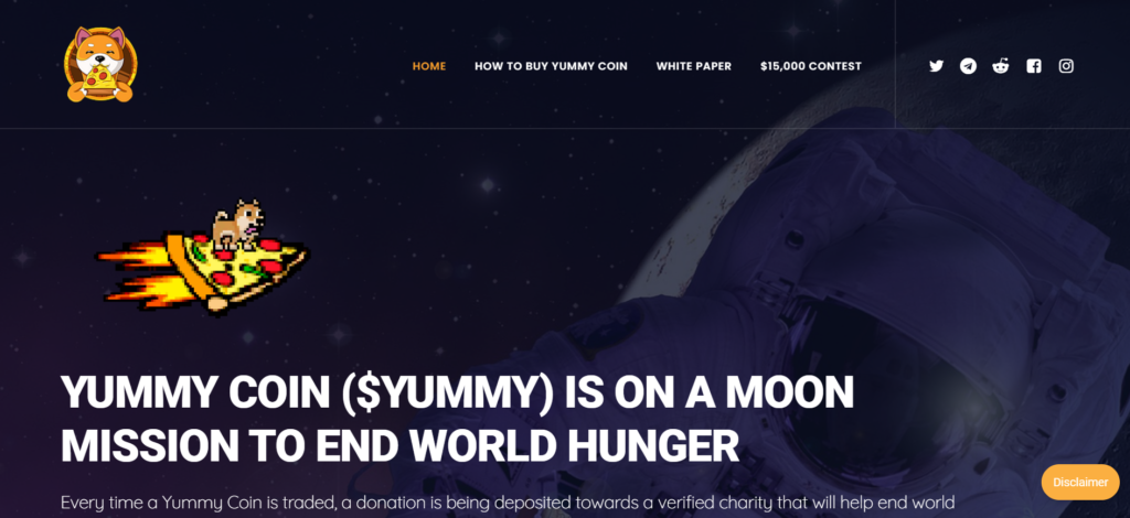 Yummy charity coin website design