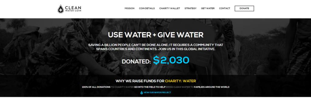 clean water coin website design