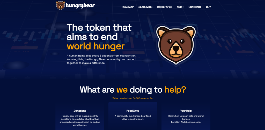 Hungry bear charity coin website design